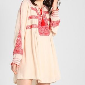 Free People Wind Willow Cream Red Embroidered